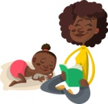 African American Mom Reading to Baby
