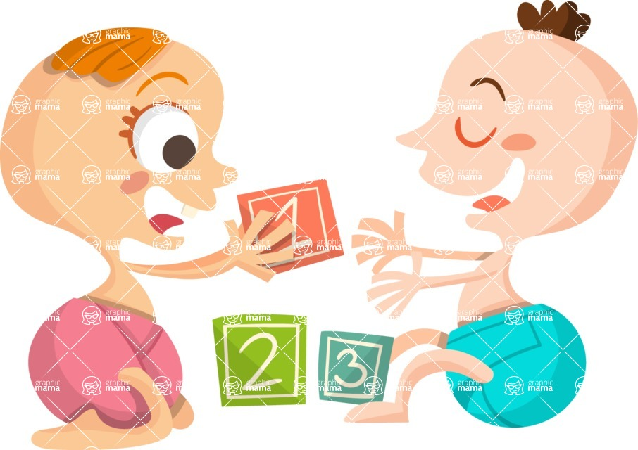 Baby Vectors - Mega Bundle - Babies Playing With Toy Cubes