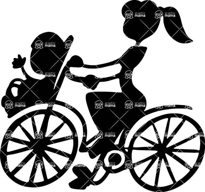 Baby Vectors - Mega Bundle - Mom on a Bike with Baby