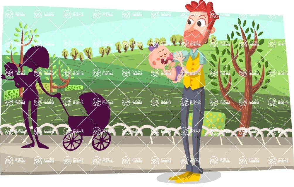 Baby Vectors - Mega Bundle - Parents with Babies in Park