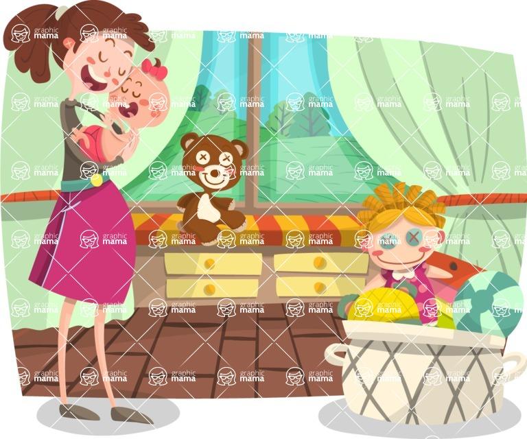 Baby Vectors - Mega Bundle - Mother and Baby at Home
