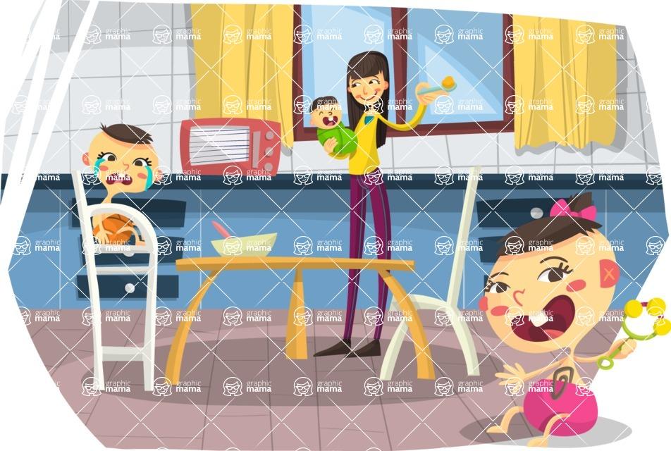 Baby Vectors - Mega Bundle - Asian Mom and Babies in Kitchen