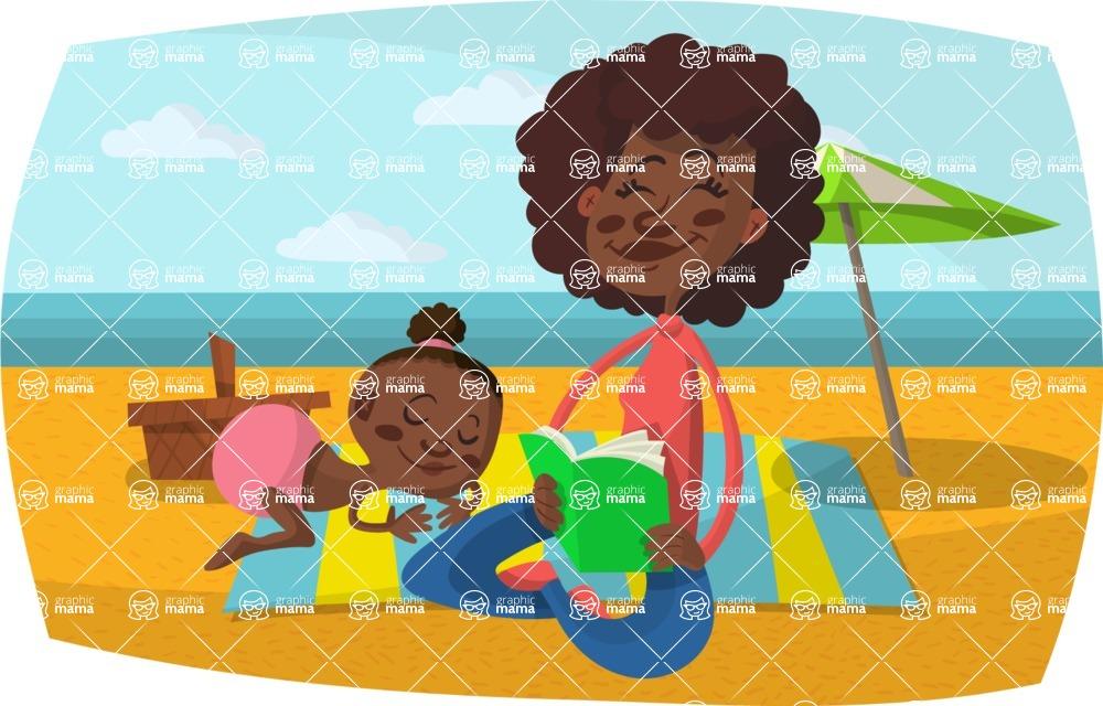 Baby Vectors - Mega Bundle - Mom and Baby at the Beach