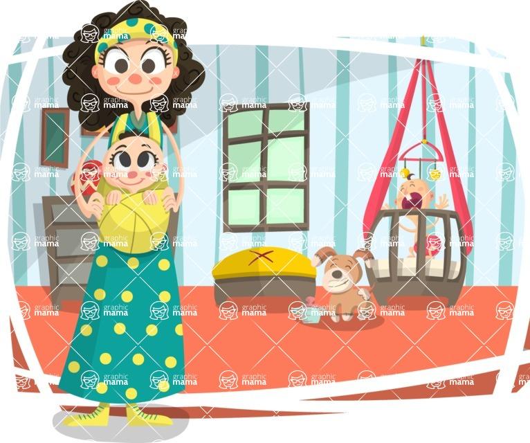 Baby Vectors - Mega Bundle - Hippie Mom with Babies at Home