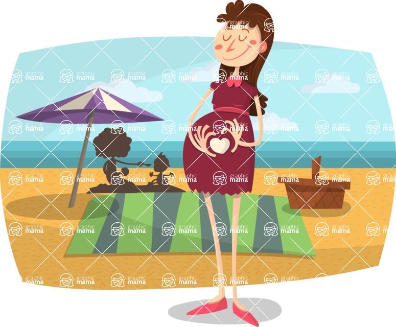 Baby Vectors - Mega Bundle - Pregnant Mom at the Beach