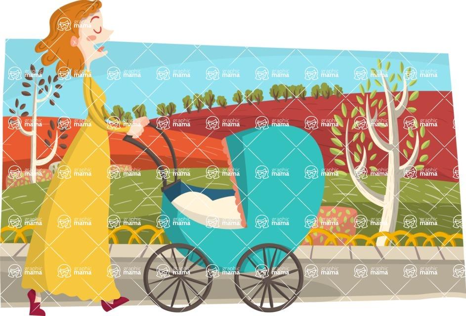 Baby Vectors - Mega Bundle - Mom Pushing a Stroller in the Park
