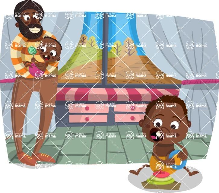 Baby Vectors - Mega Bundle - Dad with Babies at Home