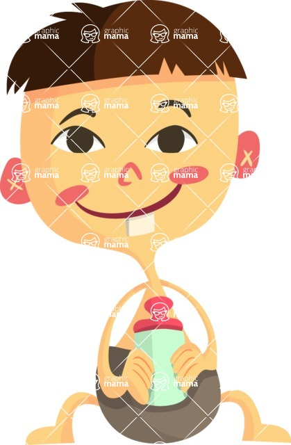 Baby Vectors - Mega Bundle - Asian Baby With a Baby Bottle
