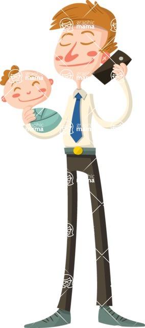 Baby Vectors - Mega Bundle - Businessman Dad with Baby