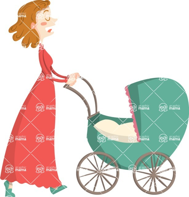 Baby Vectors - Mega Bundle - Mother Pushing a Stroller