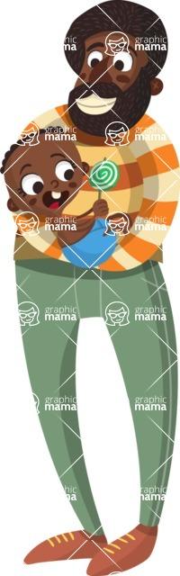 Baby Vectors - Mega Bundle - African American Dad and Baby