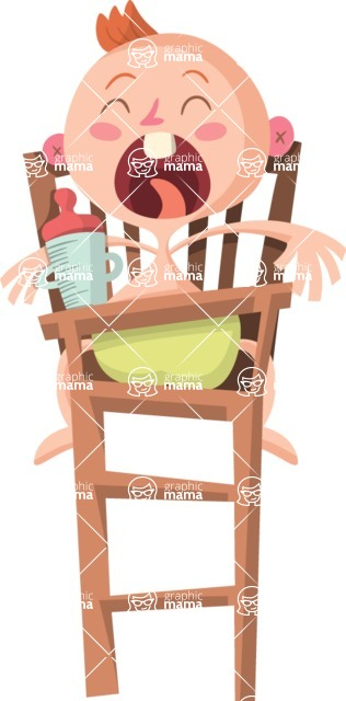 Baby Vectors - Mega Bundle - Baby Crying in a High Chair