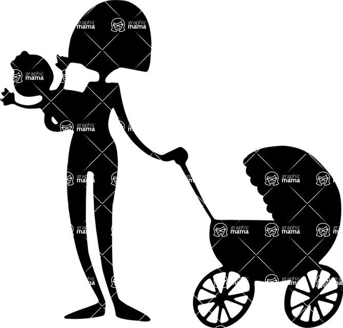 Baby Vectors - Mega Bundle - Mom with Baby Stroller