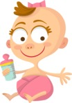 Baby Vectors - Mega Bundle - Baby Girl with a Baby Bottle