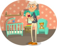 Baby Vectors - Mega Bundle - Grandparent with Baby in Nursery