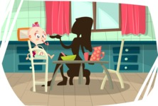 Baby Vectors - Mega Bundle - Mom Feeding Baby in Kitchen