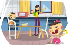 Baby Vectors - Mega Bundle - Asian Mom and Babies in Kitchen