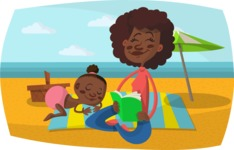 Baby Vectors - Mega Bundle - Mom and Baby at the Beach
