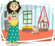 Baby Vectors - Mega Bundle - Hippie Mom with Babies at Home