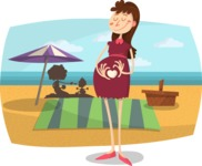 Baby Vectors - Mega Bundle - Pregnant Mom at the Beach
