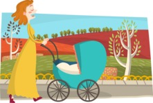 Baby Vectors - Mega Bundle - Mom Pushing a Stroller in the Park