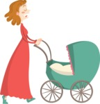 Baby Vectors - Mega Bundle - Mother Pushing a Stroller