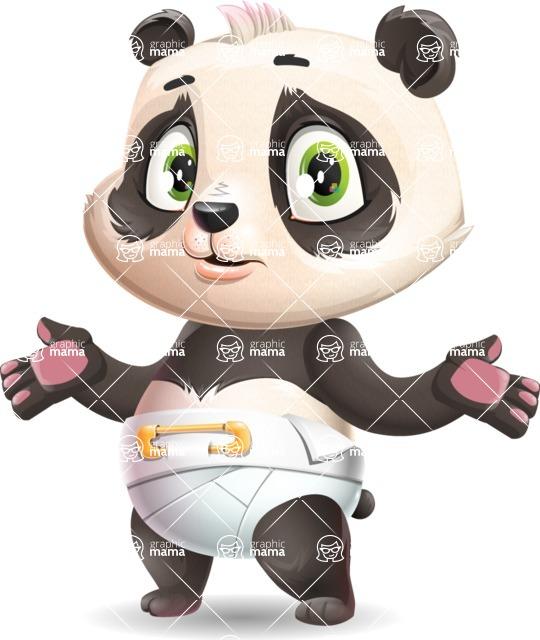Baby Panda Vector Cartoon Character - Feeling Confused