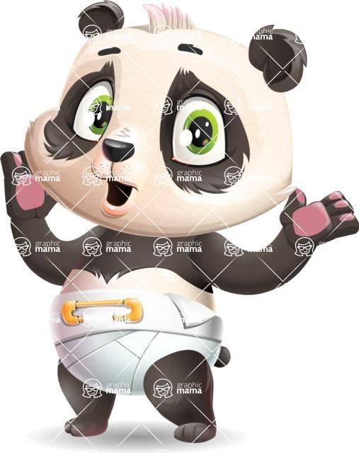Baby Panda Vector Cartoon Character - Feeling Shocked