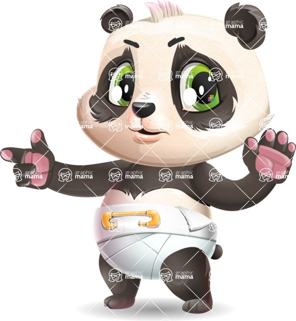 Baby Panda Vector Cartoon Character - Finger pointing with angry face