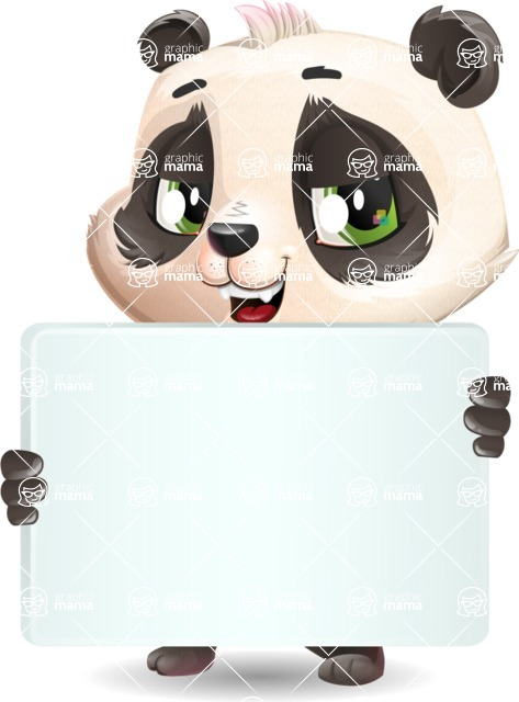 Baby Panda Vector Cartoon Character - Holding a Big Blank banner