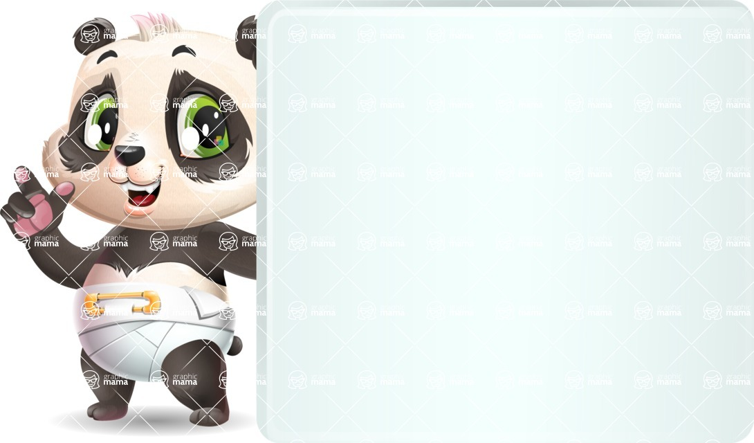 Baby Panda Vector Cartoon Character - Holding a Blank sign and Pointing