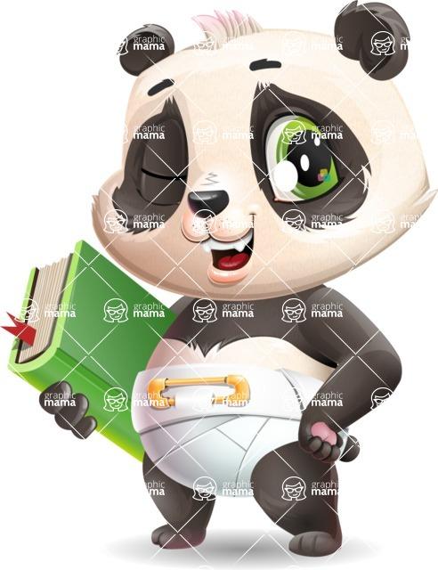 Baby Panda Vector Cartoon Character - Holding a book