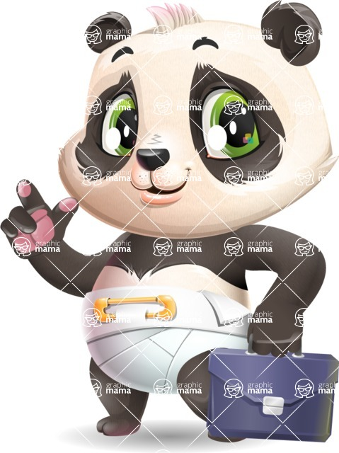 Baby Panda Vector Cartoon Character - Holding a briefcase