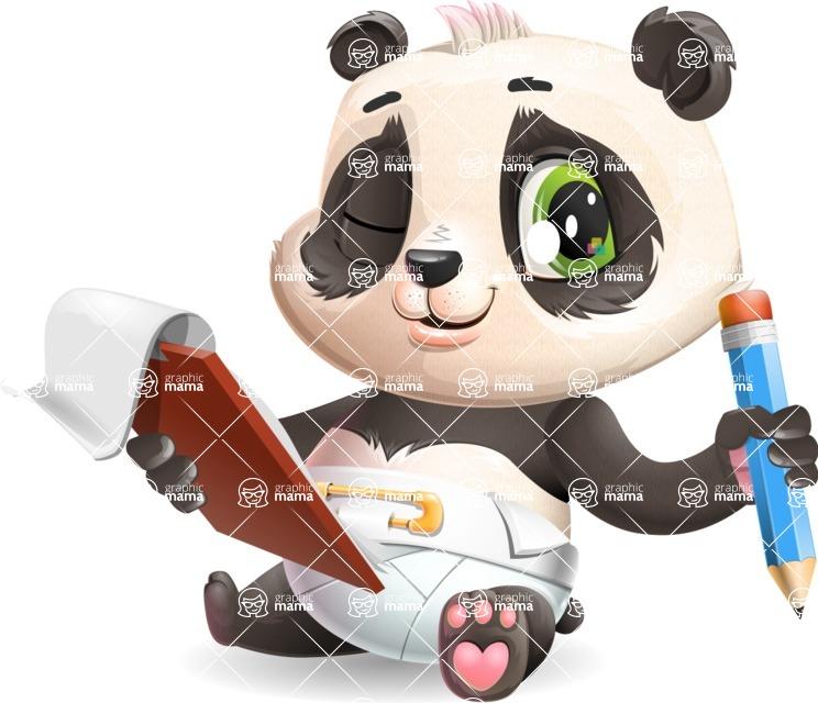 Baby Panda Vector Cartoon Character - Holding a notepad with pencil