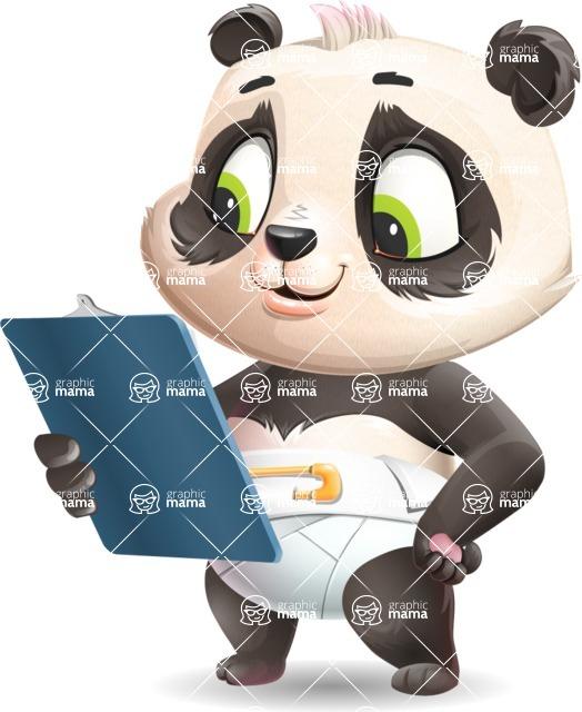 Baby Panda Vector Cartoon Character - Holding a notepad
