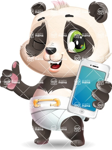 Baby Panda Vector Cartoon Character - Holding a smartphone