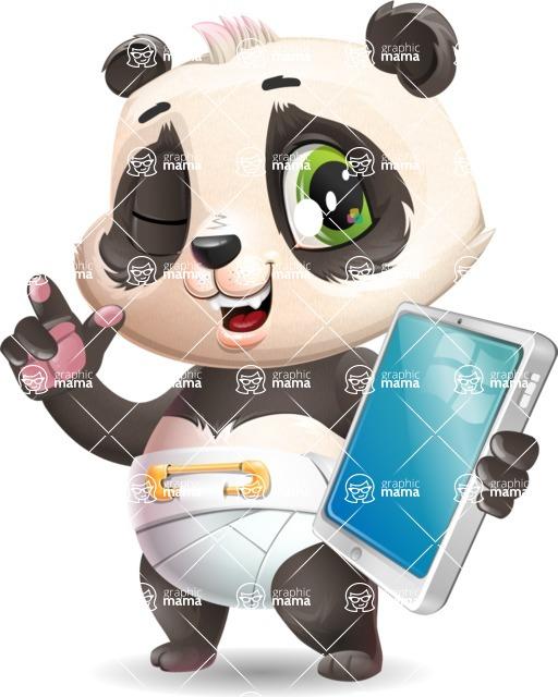 Baby Panda Vector Cartoon Character - Holding an iPad