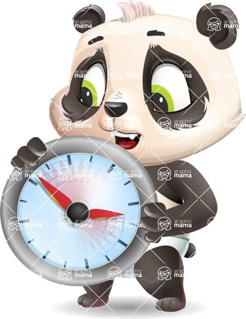 Baby Panda Vector Cartoon Character - Holding clock