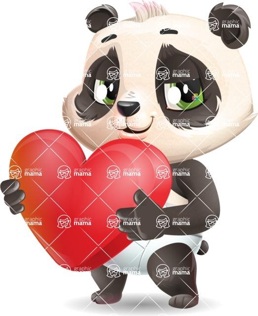 Baby Panda Vector Cartoon Character - Holding heart