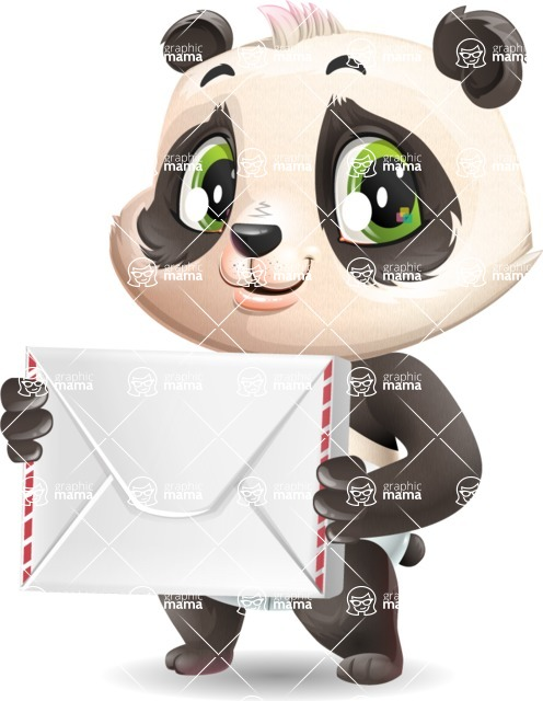 Baby Panda Vector Cartoon Character - Holding mail envelope