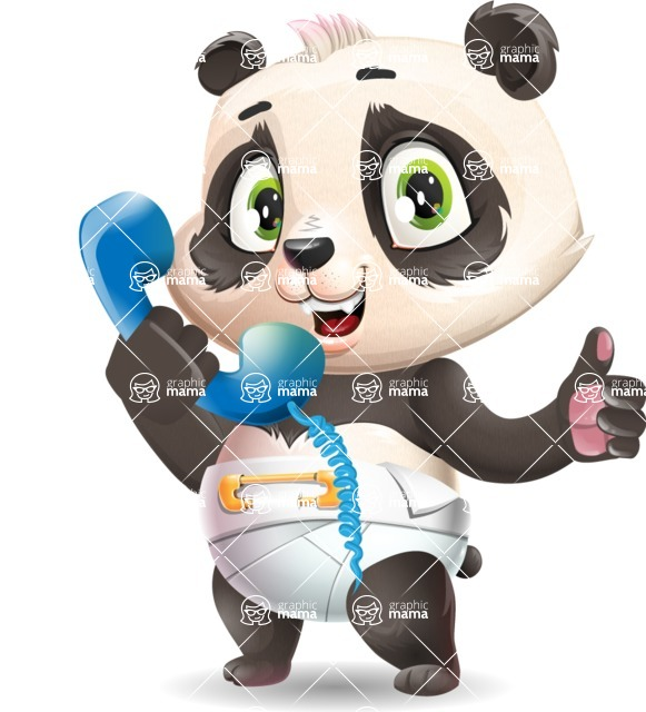 Baby Panda Vector Cartoon Character - Holding phone with thumbs up