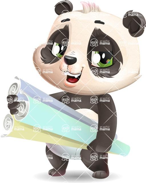 Baby Panda Vector Cartoon Character - Holding Plans