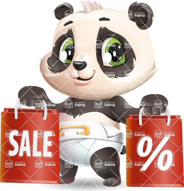 Baby Panda Vector Cartoon Character - Holding shopping bags