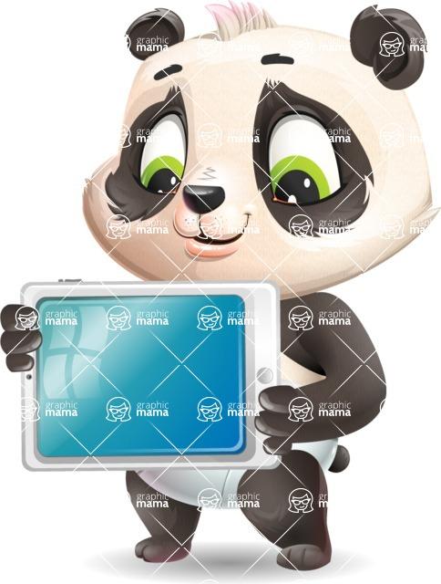 Baby Panda Vector Cartoon Character - Holding tablet