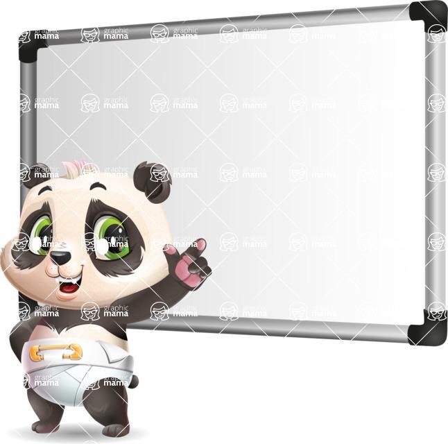 Baby Panda Vector Cartoon Character - Making a Presentation on a Blank white board