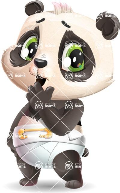 Baby Panda Vector Cartoon Character - Making Oops gesture