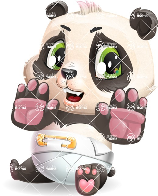 Baby Panda Vector Cartoon Character - Making stop gesture with both hands