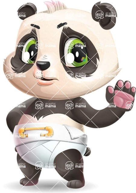 Baby Panda Vector Cartoon Character - Making stop with a hand