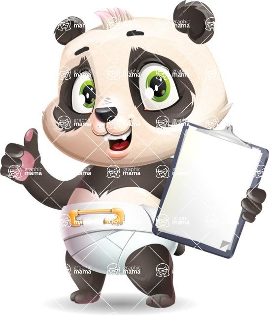 Baby Panda Vector Cartoon Character - Making thumbs up with notepad
