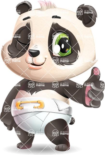 Baby Panda Vector Cartoon Character - Making Thumbs Up